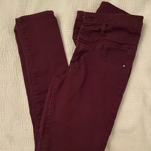 Maroon high waisted jeggings